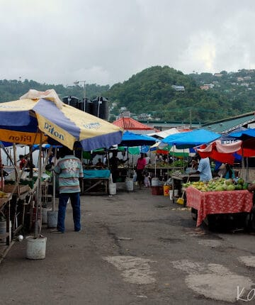 Tents in the open air market in Castries St. Lucia