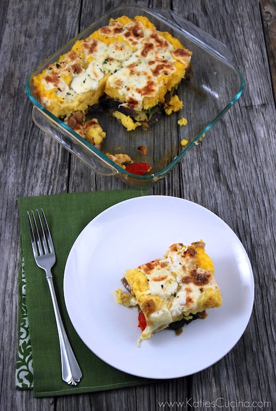 Polenta & Roasted Vegetable Pie - Katie's Cucina