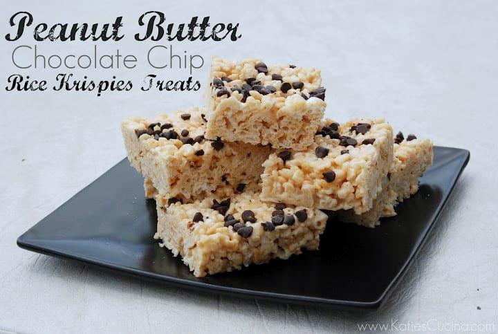 Peanut Butter Chocolate Chip Rice Krispies Treats - Katie's Cucina
