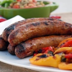 Grilled Italian Sausage with Grilled Sweet peppers