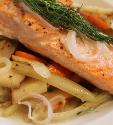 Seared Salmon with Shallot Sauce and Thyme-Roasted Vegetables