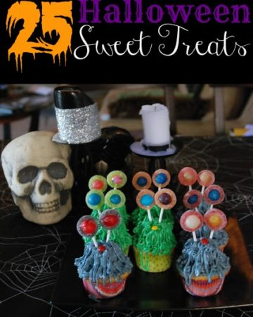 25 Halloween Sweet Treats title page with decorative skull, candle, and cupcakes placed on spider web tablecloth.