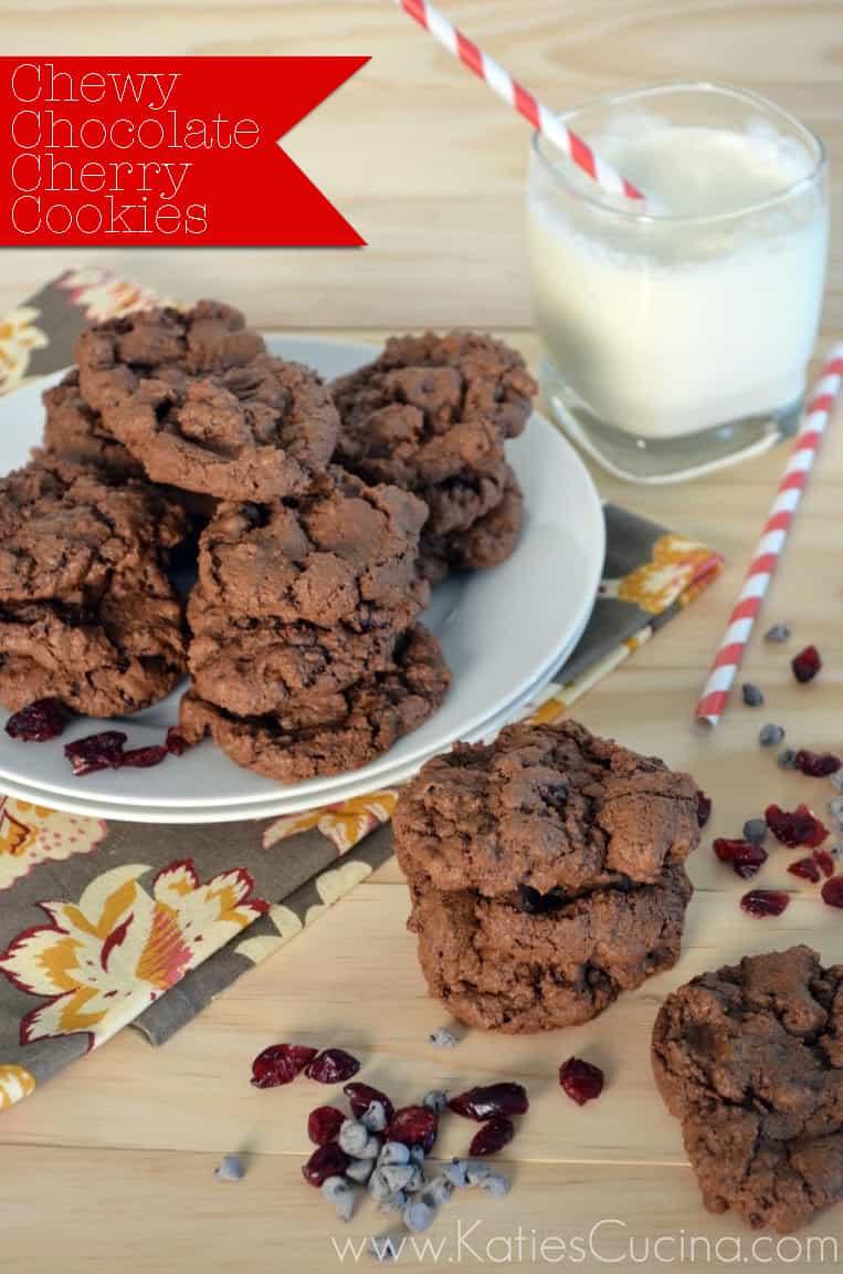 Chewy Chocolate-Cherry Cookies by KatiesCucina.com #fbcookieswap #cookies #chocolate #recipe