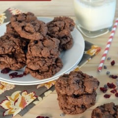 Chewy Chocolate-Cherry Cookies by KatiesCucina.com #fbcookieswap #cookies #chocolate #recipe