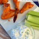 Baked Spicy Greek Yogurt Chicken Wings with Greek Yogurt Bleu Cheese Dressing #recipe #superbowl #chickenwings #football
