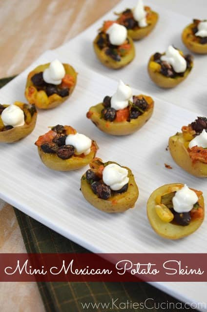 Mini Mexican Potato Skins #appetizer #Mexican #recipe #SuperBowlFood