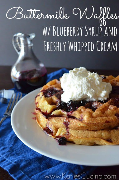{Video} Buttermilk Waffles w/ Blueberry Syrup and Freshly Whipped Cream from KatiesCucina.com