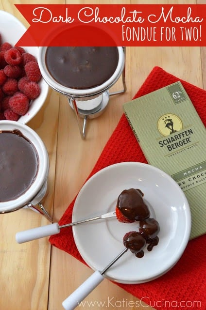 Dark Chocolate Mocha Fondue for Two! #FondueWeek #Recipe #Chocolate #ValentinesDay
