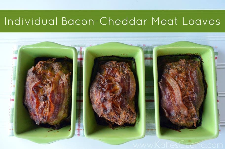 Individual Bacon-Cheddar Meat Loaves from KatiesCucina.com