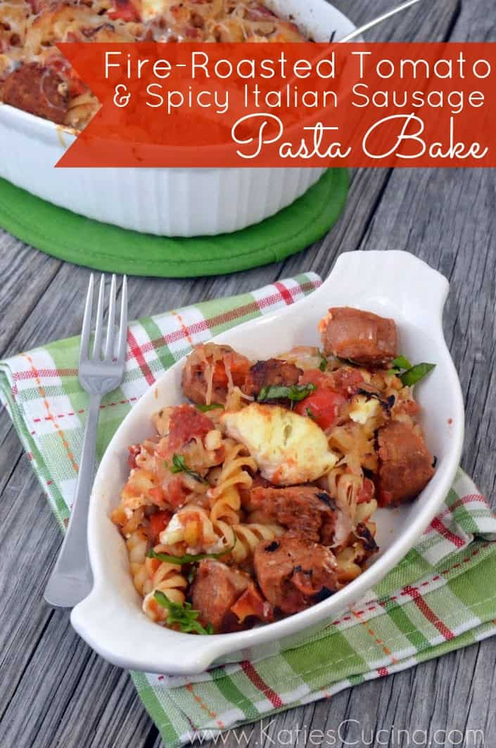 Fire-Roasted Tomato & Spicy Italian Sausage Pasta Bake from KatiesCucina.com