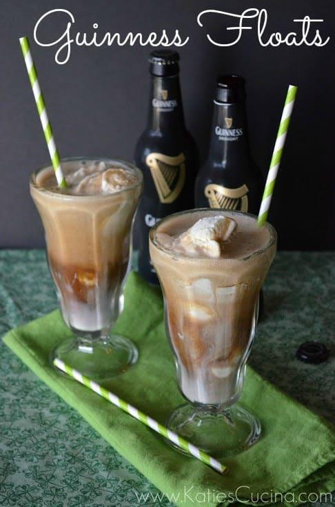 Guinness Floats via KatiesCucina.com #Irish #StPatricksDay #IceCream