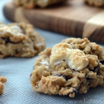 Close up of blueberry oatmeal marshmallow cookie with several other cookies blurred in background.
