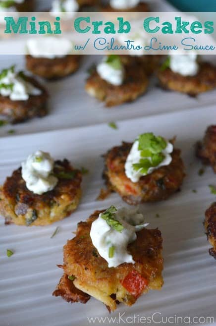 Mini Crab Cakes with Cilantro Lime Sauce via KatiesCucina.com