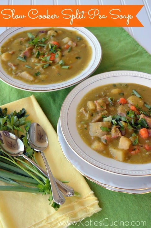 Slow Cooker Split Pea Soup from KatiesCucina.com