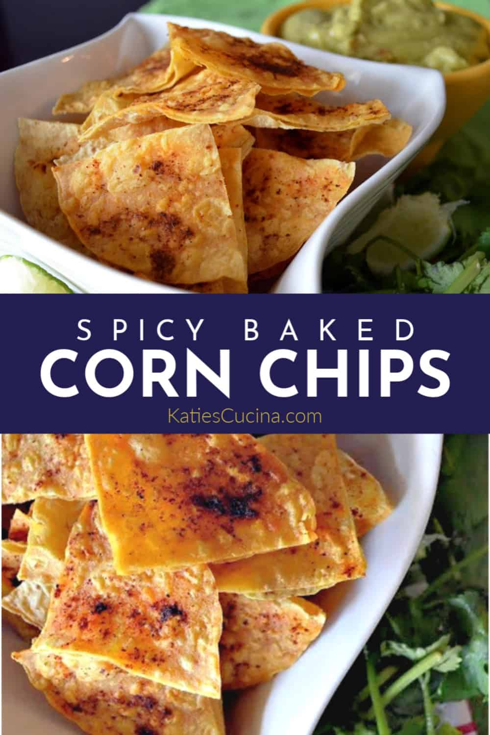 Spicy Baked Corn Chips Collage with Text