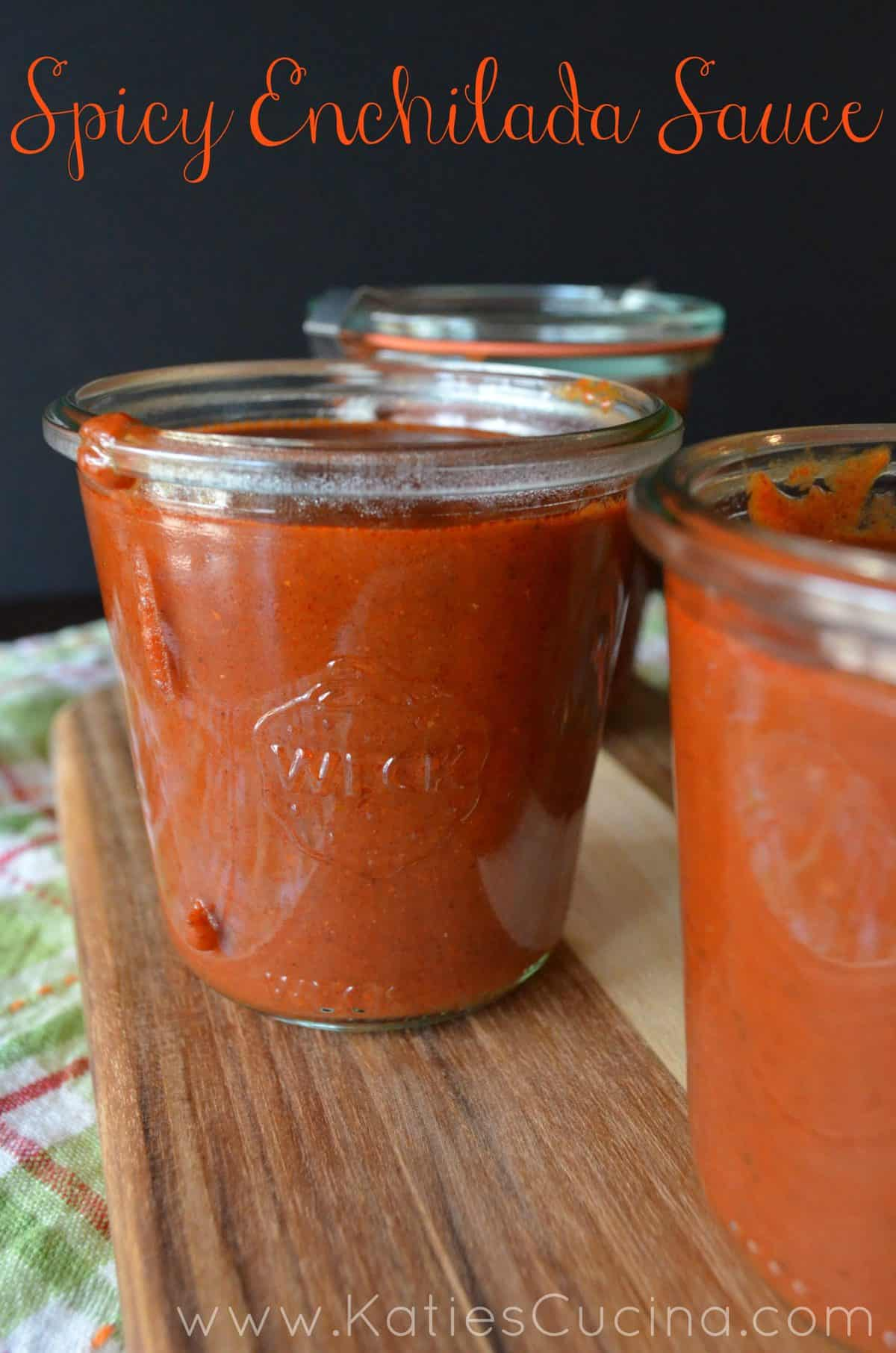 Spicy Enchilada Sauce - easy to make at home and only takes 15 minutes!  via KatiesCucina.com