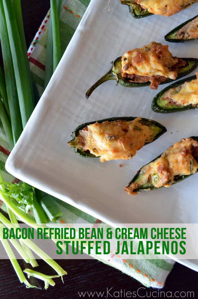 Bacon Refried Bean & Cream Cheese Stuffed Jalapenos from KatiesCucina.com