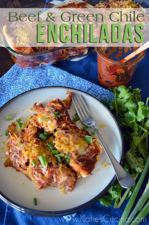 Beef & Green Chile Enchiladas from KatiesCucina.com