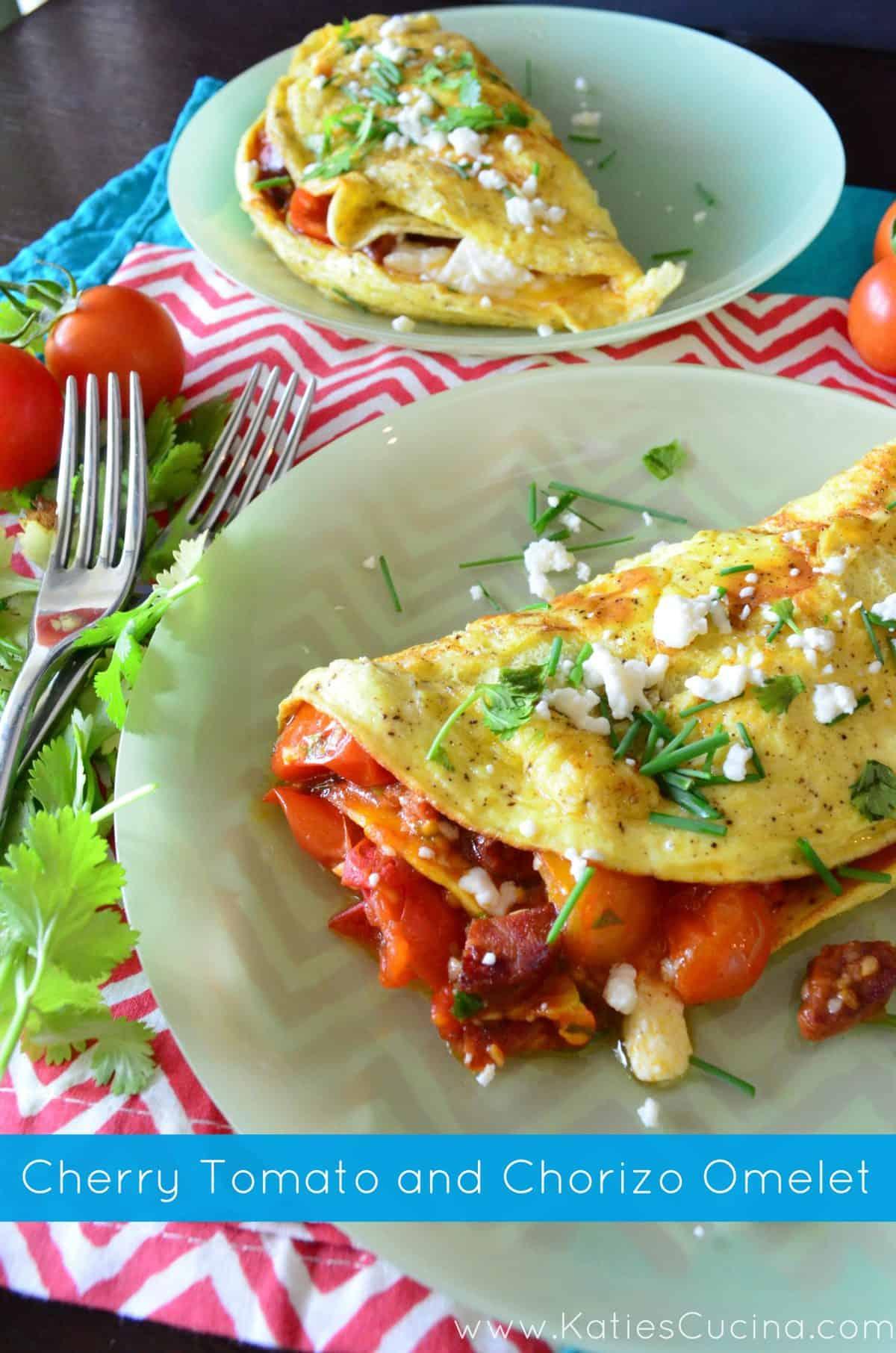 Cherry Tomato and Chorizo Omelet via KatiesCucina.com