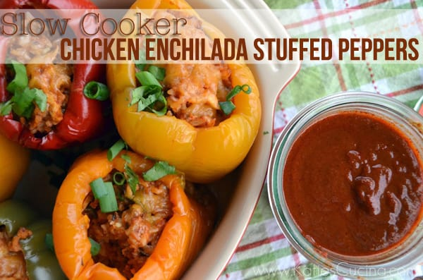 Chicken Enchilada Stuffed Peppers from KatiesCucina.com
