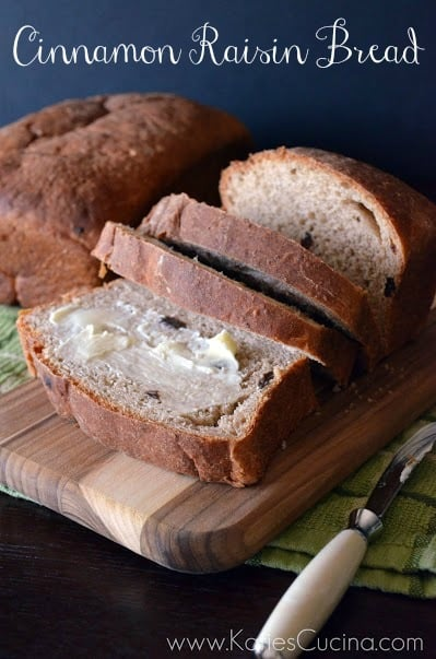 Cinnamon Raisin Bread via KatiesCucina.com #BrunchWeek #Bread #Recipe