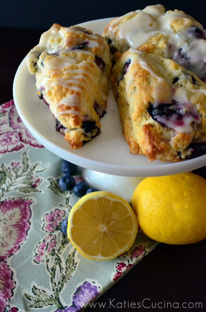 Blueberry Scones with Lemon Glaze from KatiesCucina.com
