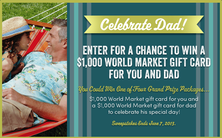 Dad's Day Sweepstakes via @WorldMarket seen on KatiesCucina.com #CelebrateDad