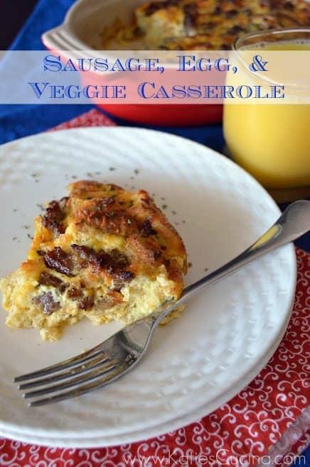 Sausage, Egg, & Veggie Casserole from KatiesCucina.com #breakfast #recipe #egg