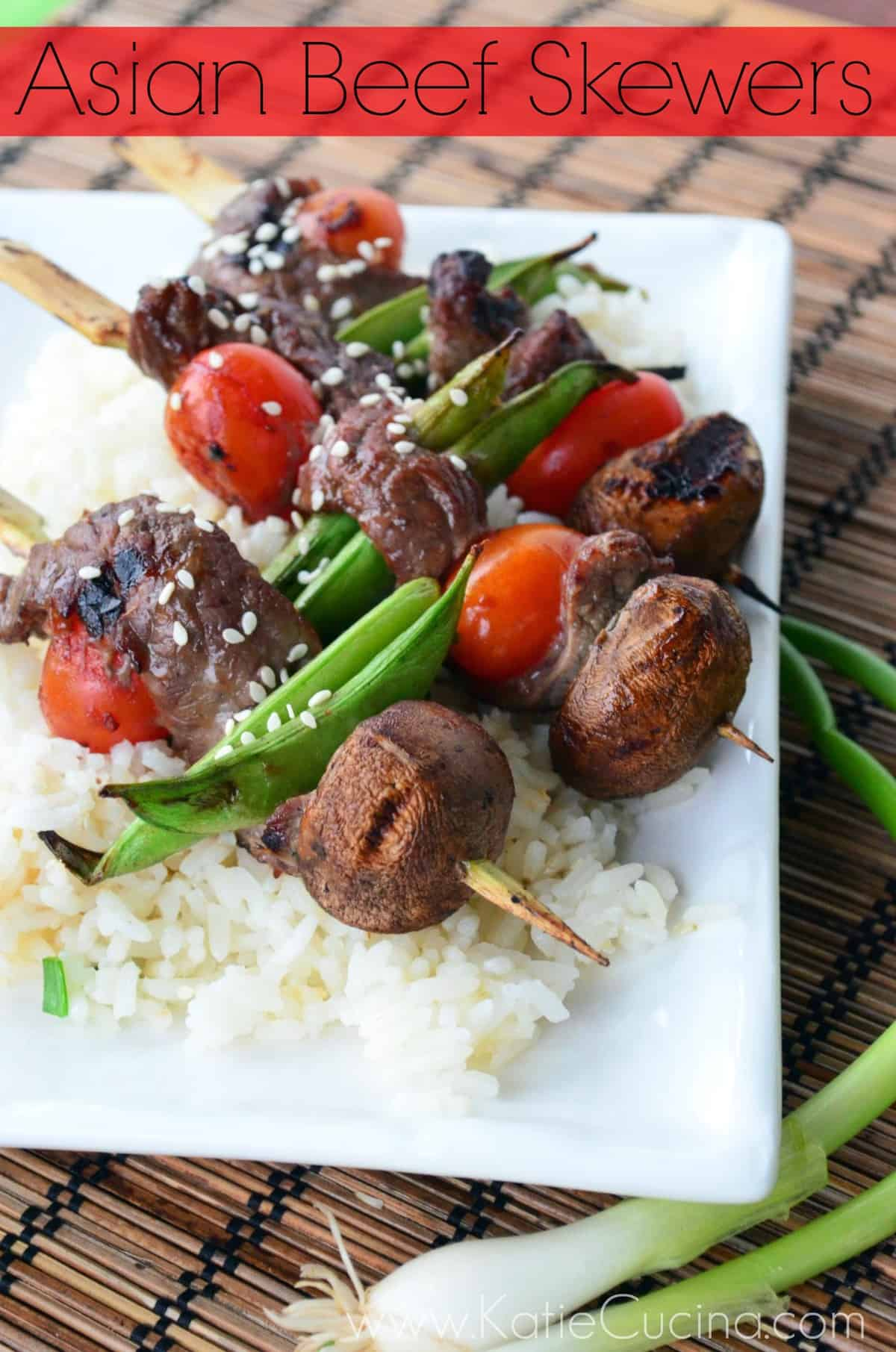 Asian Beef Skewers from KatiesCucina.com #grilling #FlavorsOfSummer