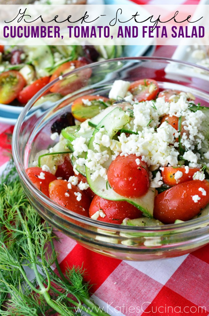 Greek-Style Cucumber, Tomato, and Feta Salad via KatiesCucina.com #recipe