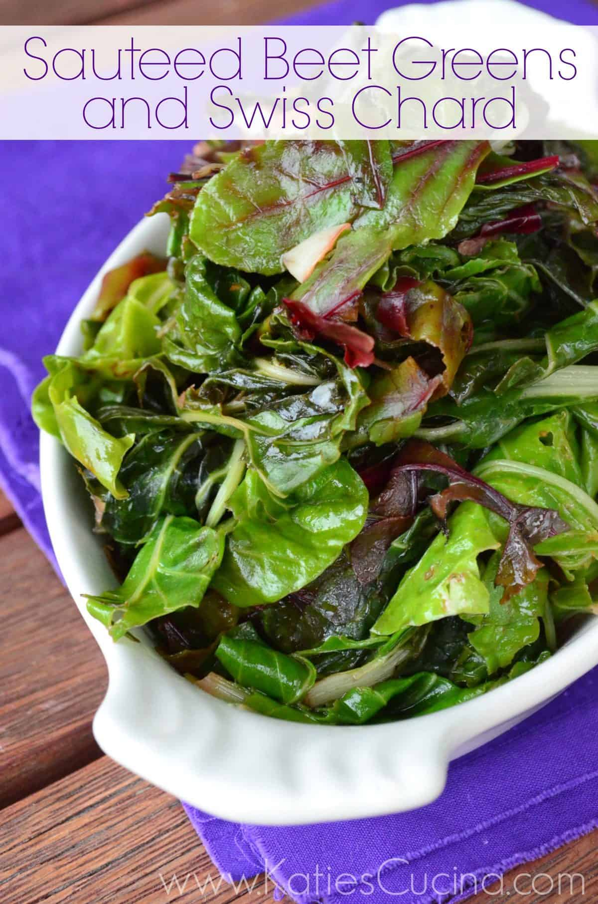 Vertical photo of sauteed Beet Greens and Swiss Chard in a white dish.
