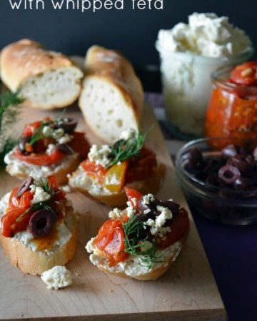 greek crostini with whipped feta from KatiesCucina.com