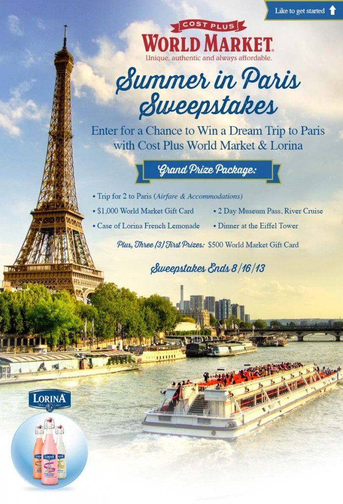 Lorina Summer in Paris Sweepstakes with World Market