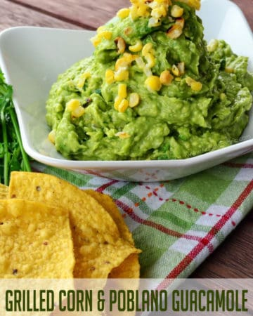 Grilled Corn & Poblano Guacamole from KatiesCucina.com