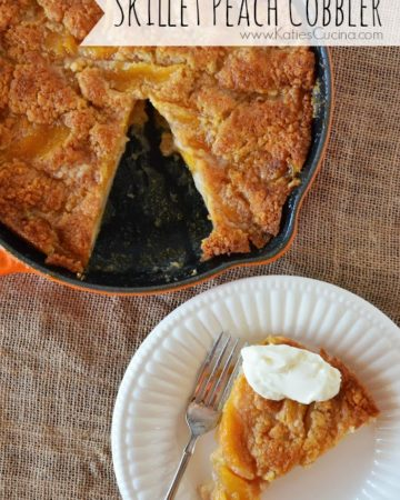 Skillet Peach Cobbler from KatiesCucina.com