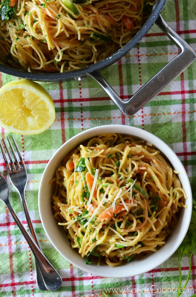 One Pot Creamy Vegetable Spaghetti Primavera from KatiesCucina.com