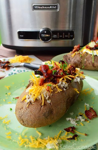 Loaded Baked Potatoes in the Slow Cooker from KatiesCucina.com