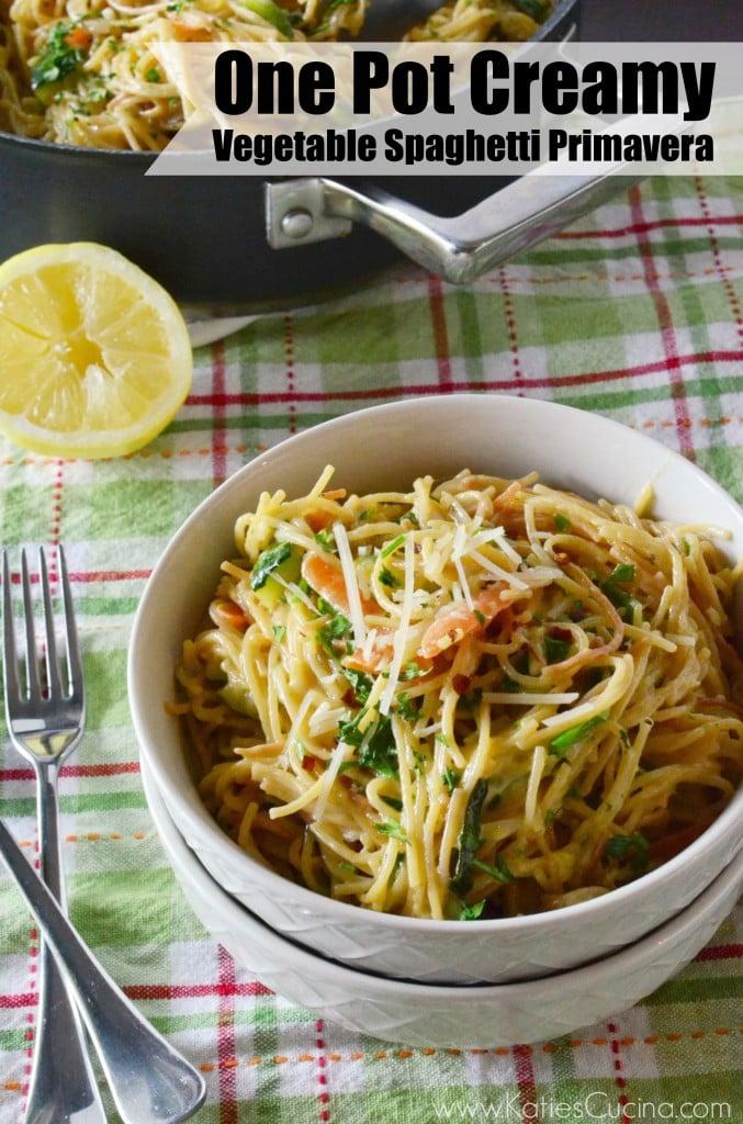 One Pot Creamy Vegetable Spaghetti Primavera from KatiesCucina.com