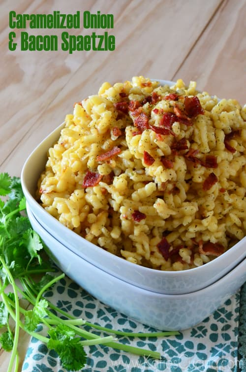 Caramelized Onion & Bacon Spaetzle from KatiesCucina.com #recipe #german #bacon