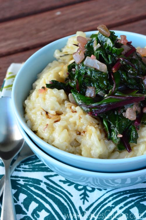 Creamy Parmesan Risotto with Beet Greens from KatiesCucina.com #Go4Gourmet
