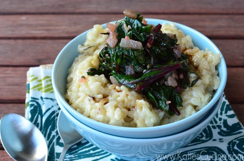 Creamy Parmesan Risotto with Beet Greens