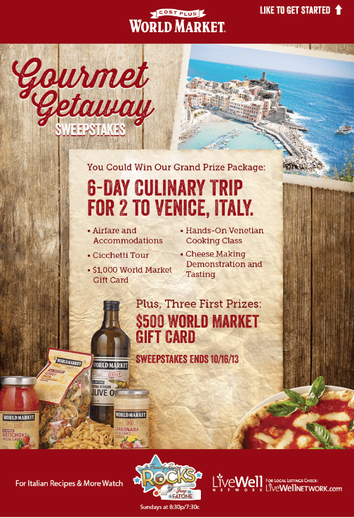 Gourmet Getaway Sweepstakes via @WorldMarket #GourmetGetaway #Italy
