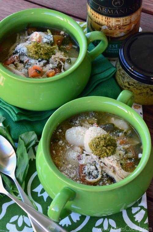 Italian Chicken Gnocchi Soup from KatiesCucina.com @WorldMarket #GourmetGetaway #Italian #Soup #Chicken