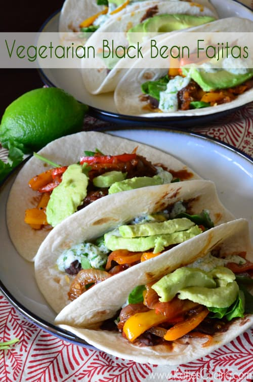 Vegetarian Black Bean Fajitas from KatiesCucina.com using @OXO kitchen tools #VeryVegetarian