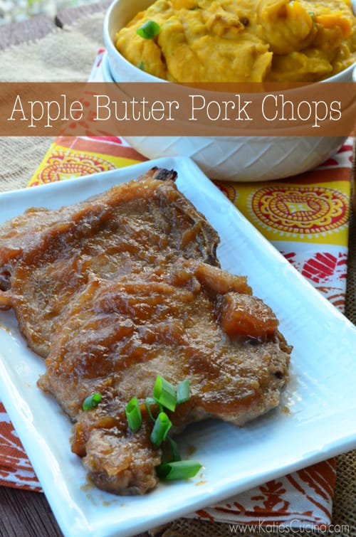 delicious 2 ingredient apple butter pork chops from katiescucina.com