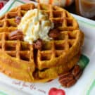 Pumpkin Buttermilk Waffles using @KitchenAid Waffle Baker from KatiesCucina.com