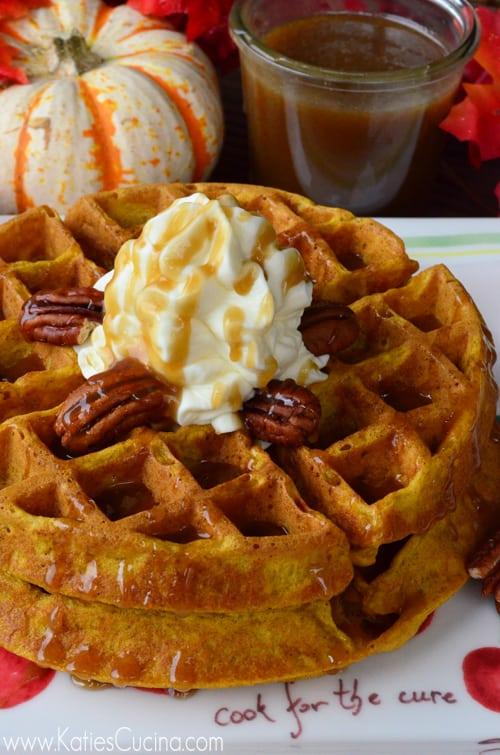 Pumpkin Buttermilk Waffles using @KitchenAidUSA Waffle Baker from KatiesCucina.com