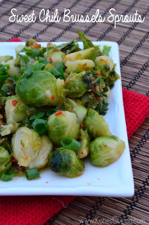 Sweet Chili Brussels Sprouts from KatiesCucina.com
