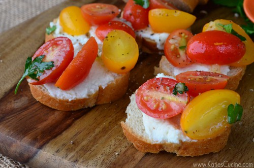 Grape Tomato & Ricotta Crostini