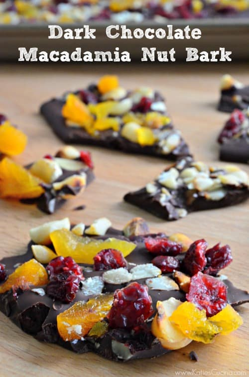 easy to make -->> dark chocolate macadamia nut bark from katiescucina.com